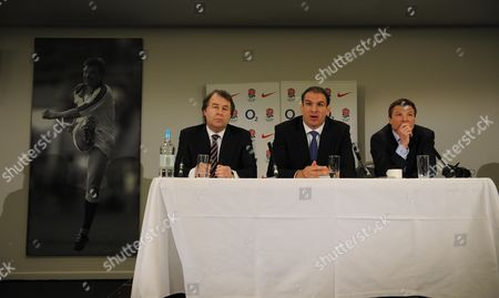 England Rugby Union Press Conference At Twickenham With Francis Baron (l) And Rob Andrew (r) With Martin Johnson (c) As The New England Mananger.