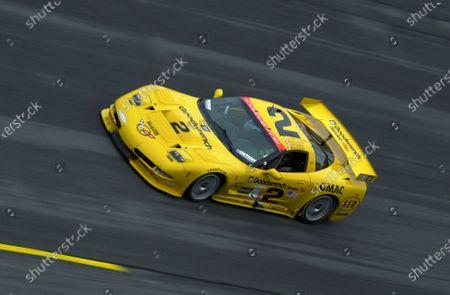 2001 Rolex Daytona 24 Hours Grand Am Series. Daytona International Speedway, Daytona Beach, Florida, USA. 3rd - 4th February 2001. Rd 1.  Johnny O'Connell/Ron Fellows/Chris Kneifel/Franck Freon (Chevrolet Corvette C5-R), 1st position, action.  World Copyright: ?F.Peirce Williams / LAT USA. Ref:  fpw-2corvette-banking.jpg