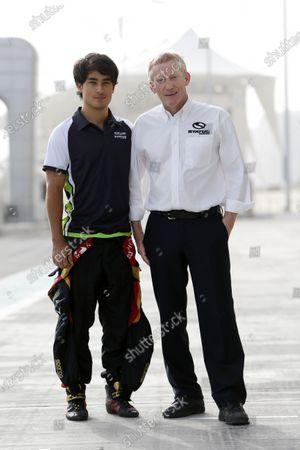 2015 GP2 Test 1 Yas Marina Circuit, Abu Dhabi, United Arab Emirates Wednesday 10 March 2015 Marlon Stockinger (PHI, Status GP) and David Kennedy Photo: Jed Leicester/GP2 Series Media Service