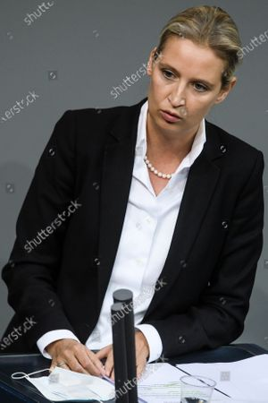 Alternative for Germany party (AfD) faction co-chairwoman in the German parliament Bundestag and deputy chairwoman Alice Weidel speaks during a debate on how to cope with the Covid-19 pandemic at the German Bundestag in Berlin, Germany, 26 November 2020. German Chancellor Angela Merkel  delivered a government declaration to the members of the German parliament Bundestag on how to cope with the Covid-19 pandemic situation.