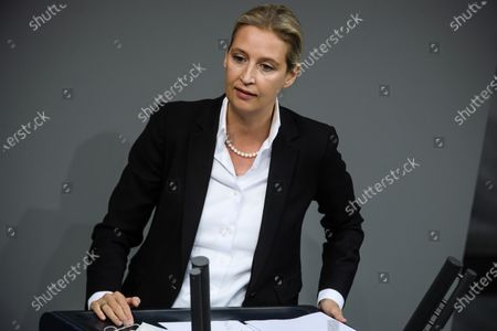 Stock Image of Alternative for Germany party (AfD) faction co-chairwoman in the German parliament Bundestag and deputy chairwoman Alice Weidel speaks during a debate on how to cope with the Covid-19 pandemic at the German Bundestag in Berlin, Germany, 26 November 2020. German Chancellor Angela Merkel  delivered a government declaration to the members of the German parliament Bundestag on how to cope with the Covid-19 pandemic situation.
