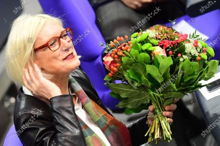 A Member of Parliament of Social Democratic Party (SPD) Dagmar Ziegler holds flowers after her election for deputy Bundestag president at the German Bundestag in Berlin, Germany, 26 November 2020. Dagmar Ziegler follows lately deceased Thomas Oppermann, in the office of deputy parliament president.
