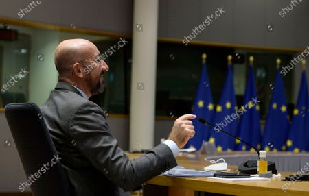 European Council President Charles Michel participates in a videoconference with Australian Prime Minister Scott Morrison during an EU-Australia leaders meeting at the European Council building in Brussels