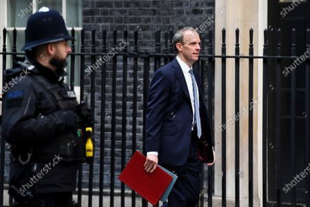 Stock Image of Dominic Raab, Foreign Secretary, arrives at No.10 Downing Street.
