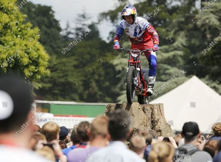 Stock Picture of 2014 Goodwood Festival of Speed  Goodwood Estate, West Sussex, England. 26th - 29th June 2014.  Trials rider Dougie Lampkin in the GAS arena.  Ref: KW5_1248a. World copyright: Kevin Wood/LAT Photographic