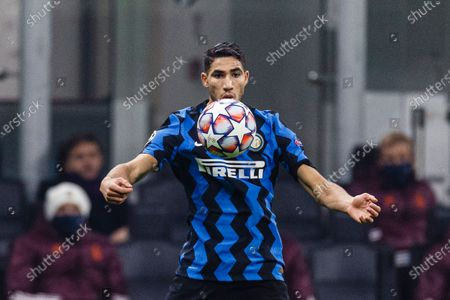 Stock Picture of Achraf Hakimi of Internazionale controls the ball