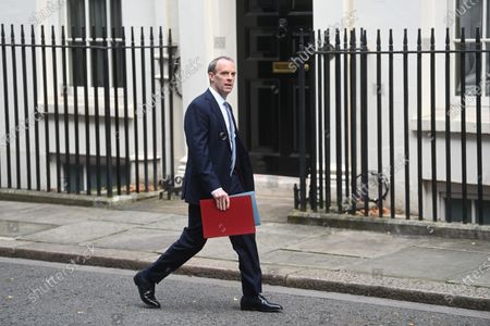 Britain's Foreign Secretary Dominic Raab walks along Downing Street in London, Britain 26 November 2020.