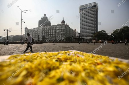 Stock Image of An exterior view of the Taj Mahal hotel, one of the sites of the Mumbai terror attacks, one of the sites of attacks, on the 12th anniversary of the Mumbai terror attacks, in Mumbai, India, 26 November 2020. A total of 171 people were killed and more than 300 others were injured when 10 heavily-armed Islamist militants stormed the city on 26 November 2008, attacking a number of sites, including the Chhatrapati Shivaji Maharaj Terminus railway station, as well as the two luxury hotels Taj Mahal Palace and Oberoi, the popular tourist restaurant Leopold Cafe and the Jewish centre Chabad House.