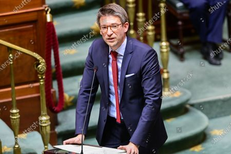 Stock Picture of Vice-prime minister and minister of Economy and Work Pierre-Yves Dermagne pictured during a plenary session of the Chamber at the Federal Parliament in Brussels, Thursday 26 November 2020.