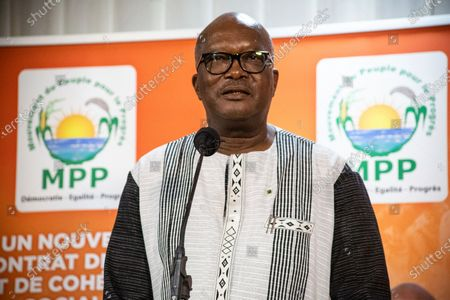 President Roch Marc Christian Kabore addresses supporters in Ouagadougou after learning he will serve another five years as Burkina Faso's president, according to provisional results announced by the National Independent Electoral Commission