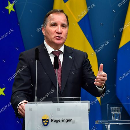 Stock Image of Sweden's Prime Minister Stefan Lofven during a digital news conference on the spread of the coronavirus (Covid-19) pandemic