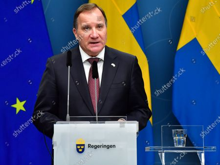 Stock Photo of Sweden's Prime Minister Stefan Lofven during a digital news conference on the spread of the coronavirus (Covid-19) pandemic