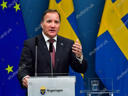 Stock Picture of Sweden's Prime Minister Stefan Lofven during a digital news conference on the spread of the coronavirus (Covid-19) pandemic