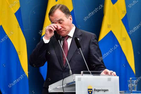 Sweden's Prime Minister Stefan Lofven during a digital news conference on the spread of the coronavirus (Covid-19) pandemic