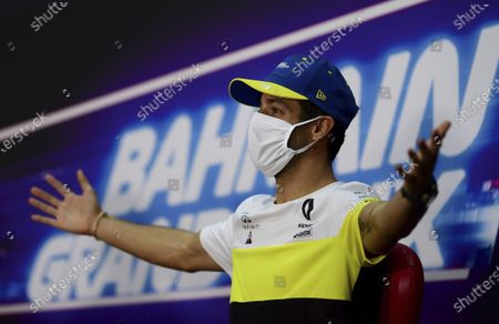 Renault driver Daniel Ricciardo of Australia participates in a media conference prior to the Bahrain Formula One Grand Prix at the International Circuit in Sakhir, Bahrain, . The Bahrain Formula One Grand Prix will take place on Sunday