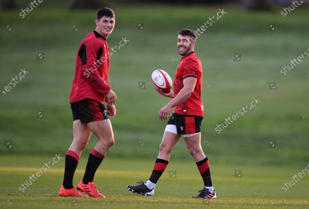 Stock Image of Louis Rees-Zammit and Rhys Webb during training.