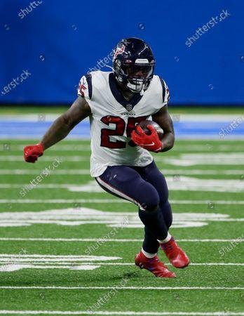 Houston Texans running back Duke Johnson runs during the first half of an NFL football game against the Detroit Lions, in Detroit