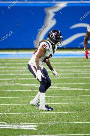 Stock Image of Houston Texans cornerback Bradley Roby (21) in action against the Detroit Lions during an NFL football game, in Detroit