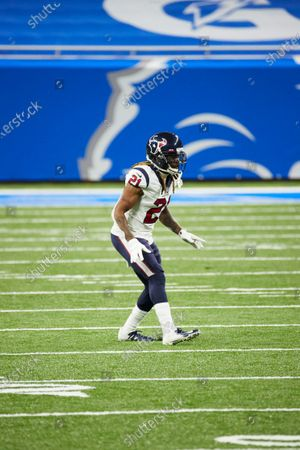 Stock Photo of Houston Texans cornerback Bradley Roby (21) in action against the Detroit Lions during an NFL football game, in Detroit
