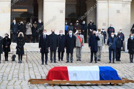 Brigitte Macron, Emmanuel Macron, Jean Castex, Francois Bayrou, Gerard Larcher, Richard Ferrand, Francois Hollande and French Defense Minister Florence Parly.