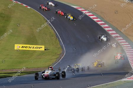 2014 MSA Formula Ford Championship of Great Britain, Brands Hatch, Kent. 11th - 12th October 2014. RAce 1. Ashley Sutton (GBR) MBM Motorsport Mygale leads Jayde Kruger (RSA) JTR Mygale, Harrison Scott (GBR) Falcon Motorsport Mygale, Max Marshall (GBR) JTR Mygale, Ricky Collard (GBR) Falcon Motorsport Mygale, Juan Rosso (ARG) Radical Motorsport Mygale, Louise Richardson (GBR) Richardson Racing Mygale, Jack Barlow (GBR) Jamun Racing Mygale and the rest of the field at the start of the race. World Copyright: Zak Mauger/LAT Photographic.