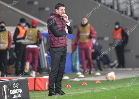 Milan interim coach Daniele Bonera during the UEFA Europa League soccer match between Lille OSC and AC Milan in Lille, France, 26 November 2020. AC Milan's regular coach  Stefano Pioli and his assistant have both tested positive for the coronavirus recently and are in self isolation.