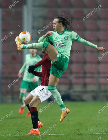 Celtic's Diego Laxalt controls the ball during the UEFA Europa League Group H match between Sparta Prague and Celtic at the Generali Arena in Prague, Czech Republic
