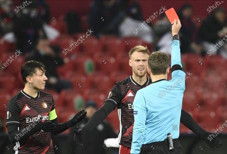 Nicolai Jorgensen (R) of Feyenoord gets a red card during the UEFA Europa League soccer match between CSKA Moscow and Feyenoord Rotterdam in Moscow, Russia, 26 November 2020.