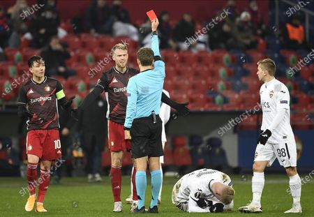 Nicolai Jorgensen (C) of Feyenoord gets a red card during the UEFA Europa League soccer match between CSKA Moscow and Feyenoord Rotterdam in Moscow, Russia, 26 November 2020.