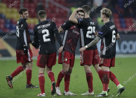 Mark Diemers (R), Uros Spajic (2R), Bart Nieuwkoop (2L) of Feyenoord react after the UEFA Europa League soccer match between CSKA Moscow and Feyenoord Rotterdam in Moscow, Russia, 26 November 2020.