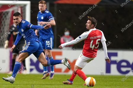 Stock Picture of Sporting de Braga player, Medeiros (R), in action against Leicester´s James Justin during their UEFA Europa League soccer match against Sporting de Braga at Braga Municipal stadium, Braga, Portugal, 26 November 2020.