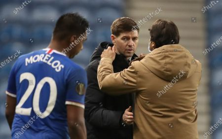 Rangers' manager Steven Gerrard (C) reacts after the UEFA Europa League goup D soccer match between Glasgow Rangers and Benfica Lisbon in Glasgow, Britain, 26 November 2020.