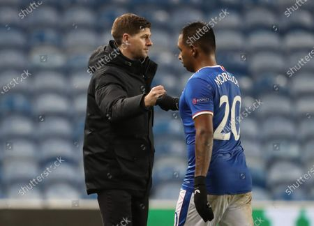 Rangers' manager Steven Gerrard (L) and Alfredo Morelos (R) react after the UEFA Europa League goup D soccer match between Glasgow Rangers and Benfica Lisbon in Glasgow, Britain, 26 November 2020.