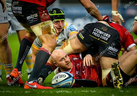 Joe Simpson of Gloucester Rugby at the bottom of a ruck during the Gallagher Premiership match between Gloucester Rugby and Wasps, 28 November 2020.