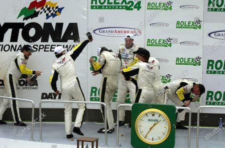 2001 Rolex Daytona 24 Hours Grand Am Series. Daytona International Speedway, Daytona Beach, Florida, USA. 3rd - 4th February 2001. Rd 1.  Johnny O'Connell/Ron Fellows/Chris Kneifel/Franck Freon (Chevrolet Corvette C5-R), 1st position,podium, portrait. World Copyright: ?F.Peirce Williams / LAT USA. Ref:  fpw-team-champane.jpg