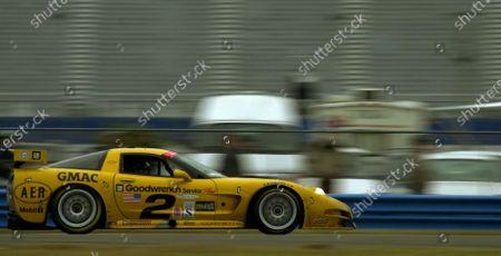 2001 Rolex Daytona 24 Hours Grand Am Series. Daytona International Speedway, Daytona Beach, Florida, USA. 3rd - 4th February 2001. Rd 1.  Johnny O'Connell/Ron Fellows/Chris Kneifel/Franck Freon (Chevrolet Corvette C5-R), 1st position, action. World Copyright: ?F.Peirce Williams / LAT USA. Ref:  fpw-o'connell-atspeed.jpg