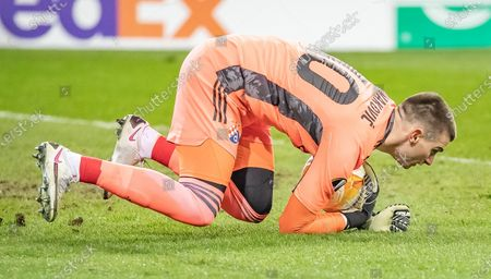 Dinamo Zagreb's goalkeeper Dominik Livakovic  in action during the UEFA Europa League group K soccer match between Wolfsberg and Dinamo Zagreb