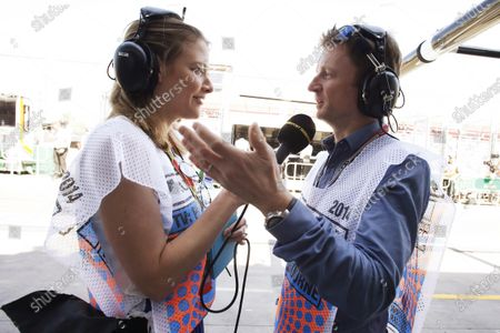 Albert Park, Melbourne, Australia. Friday 14 March 2014. Jennie Gow, Pit Lane Commentator, BBC Radio 5, with Allan McNish, Commentator, BBC Radio 5. World Copyright: Steven Tee/LAT Photographic.