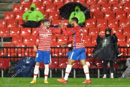 Granada CF players Luis Suarez and Carlos Neva celebrate a goal during the UEFA Europa League Group E match between Granada CF and AC Omonoia Nicosia at Estadio Nuevo Los Carmenes in Granada. (Final score; Granada CF 2:1 AC Omonoia Nicosia)