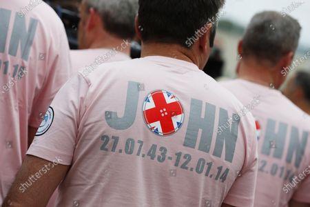 Stock Photo of Silverstone, Northamptonshire, England. Sunday 6 July 2014. John Button tribute shirt. World Copyright: Alastair Staley/LAT Photographic.