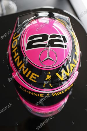 Silverstone, Northamptonshire, England. Thursday 3 July 2014. Jenson Button's helmet, a tribute to his father, the late John Button. World Copyright: Steven Tee/LAT Photographic.