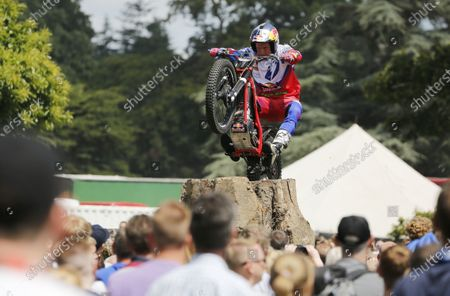 Stock Photo of 2014 Goodwood Festival of Speed  Goodwood Estate, West Sussex, England. 26th - 29th June 2014.  Trials rider Dougie Lampkin in the GAS arena.  Ref: KW5_1246a. World copyright: Kevin Wood/LAT Photographic