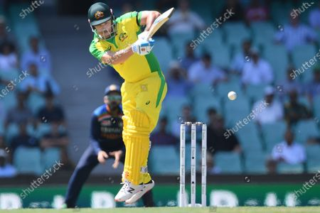 Aaron Finch of Australia in action during the first ODI cricket match between Australia and India at the SCG in Sydney, Australia, 27 November 2020.