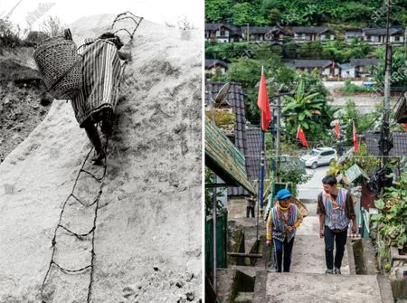 """Stock Image of LEFT: This file photo taken at a certain time before 1949 shows a Dulong resident climbing a cliff-side ladder in Dulongjiang Township of Gongshan Dulong and Nu Autonomous County, southwest China's Yunnan Province. RIGHT: Dulong villager Li Yongming accompanies his grandmother Dang Na as they climb up cement steps to reap fodder grass from the mountains in Dulongjiang Township of Gongshan Dulong and Nu Autonomous County, southwest China's Yunnan Province, Oct. 31, 2020. (Photo taken by Hu Chao)   Dulong is a mountain-dwelling ethnic group in southwest China. It is one of the least populous of China's 56 minority nationalities. It is also called a """"direct-transition"""" minority ethnic group because the Dulong people didn't bid farewell to primitive life until the founding of the People's Republic of China in 1949 and since then they directly stepped into the socialist society.    Most Dulong people live in Dulongjiang Township, where an inhospitable mountainous terrain had been thwarting the town's development for decades. Thus, the township had been one of the poorest area in Yunnan Province and even in the entire country.    But the local economic and social development has been fast-tracked in recent years when many difficulties that bottlenecked the development were eliminated thanks to state and provincial efforts. For example, the town built better infrastructure, developed specialized industries and enrolled high-quality talents. In 2018, the Dulong ethnic group shook off poverty as a whole, a phenomenal breakthrough.    Nowadays, all of the 1,100-plus households in Dulongjiang have moved into new, better residences. Many residents are now engaged in herbal planting and poultry husbandry with local characteristics.    All of the six administrative villages have access to roads with hard surfaces and signals of radio and TV, and are all covered by the 4G network.     All villagers benefit from a critical illness insu"""