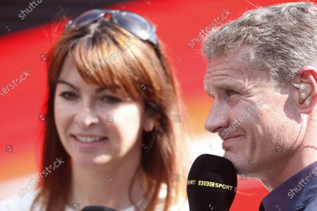 Stock Image of Nurburgring, Germany 6th July 2013 Suzy Perry, BBC Sport F1, with David Coulthard, BBC Sport F1 World Copyright: Charles Coates/