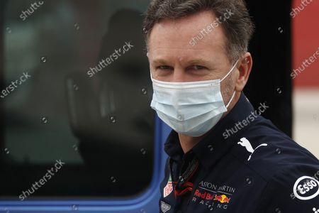 Aston Martin Red Bull Racing team principal Christian Horner arrives at the paddock ahed of the first free practice at the Formula One Bahrain International Circuit in Sakhir, Bahrain