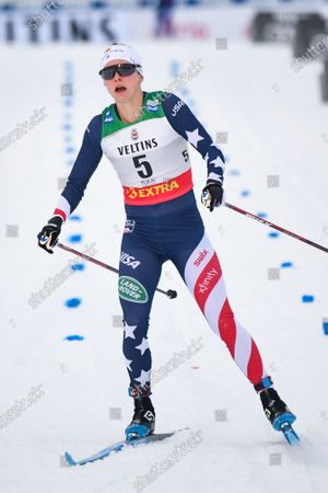 Jessie Diggins of United States in the finish area after the qualification round at the women's Sprint Classic of the FIS Cross Country World Cup in Ruka, Finland, 27 November 2020.