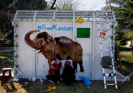 "Volunteers paint an image of an elephant named ""Kaavan""on a crate to be used to be transported Kaavan to a sanctuary in Cambodia, at the Maragzar Zoo in Islamabad, Pakistan, . Iconic singer and actress Cher was set to visit Pakistan on Friday to celebrate the departure of Kaavan, dubbed the ""world's loneliest elephant,"" who will soon leave a Pakistani zoo for better conditions after years of lobbying by animal rights groups and activists"
