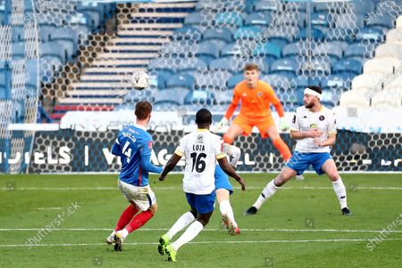 Stock Picture of Tom Naylor of Portsmouth scores his sides second goal.