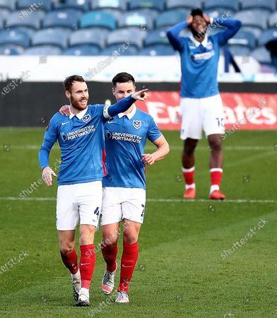 Tom Naylor of Portsmouth celebrates scoring his sides second goal.
